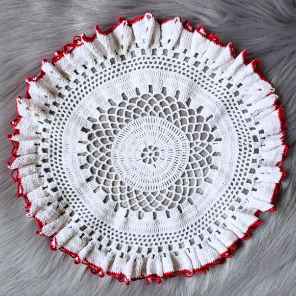 Vintage Other - Vintage Round White Doily with Red Border